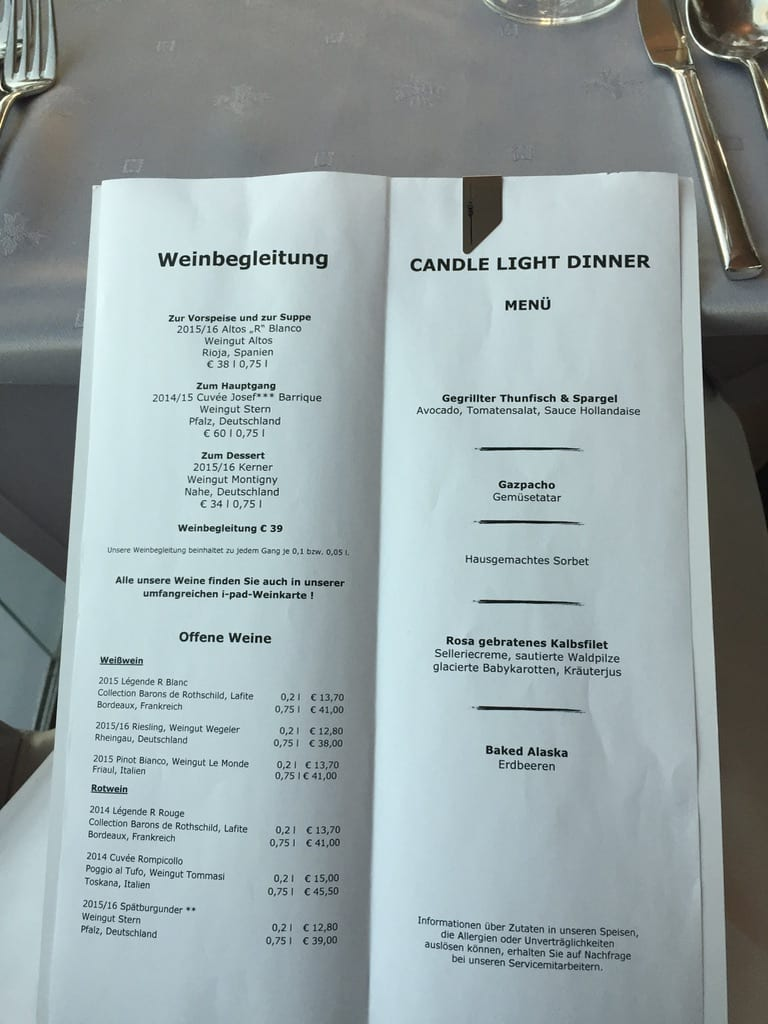 Menu of the Dinner over the Munich Sky