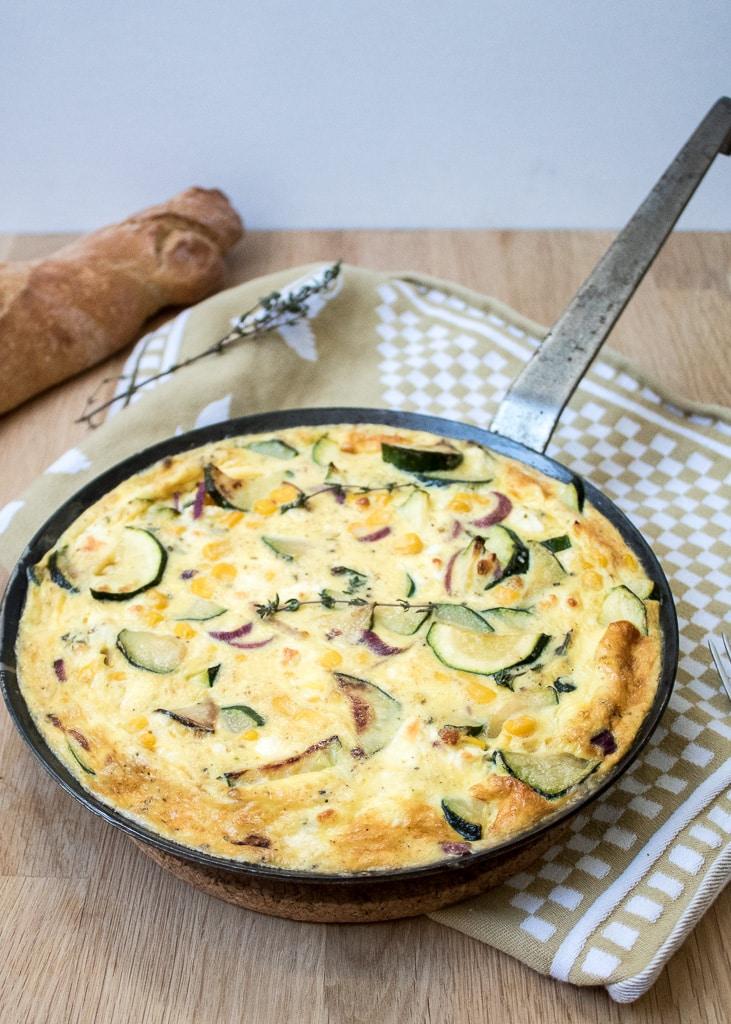 Zucchini Corn Frittata in the Pan