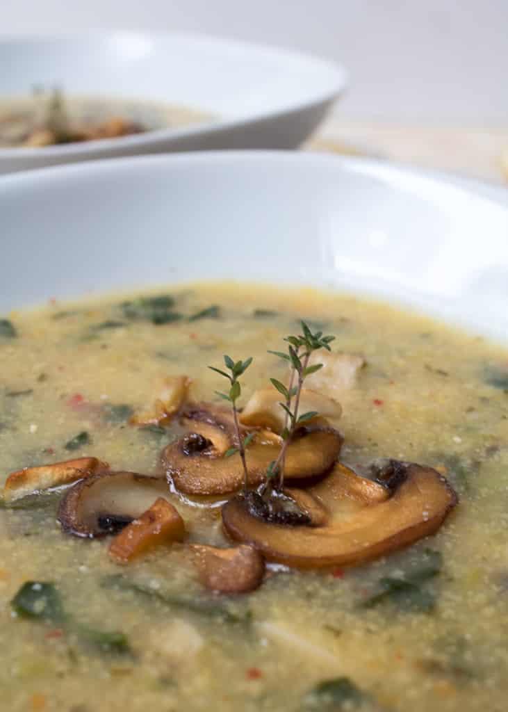 Mushroom spinach and polenta soup || Pilzsuppe mit Spinat und Polenta