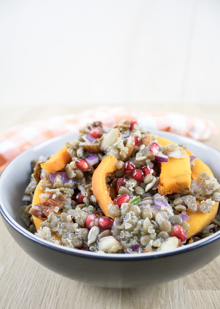 Pumpkin Quinoa Salad with lentils