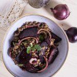 Linsen Salat mit rote Beete Nahaufnahme