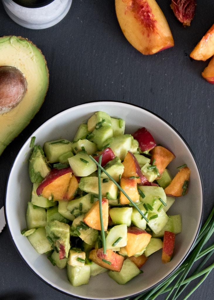 Cucumber Avocado Peach Salad  || Gurken Avocado Salat mit Pfirsich