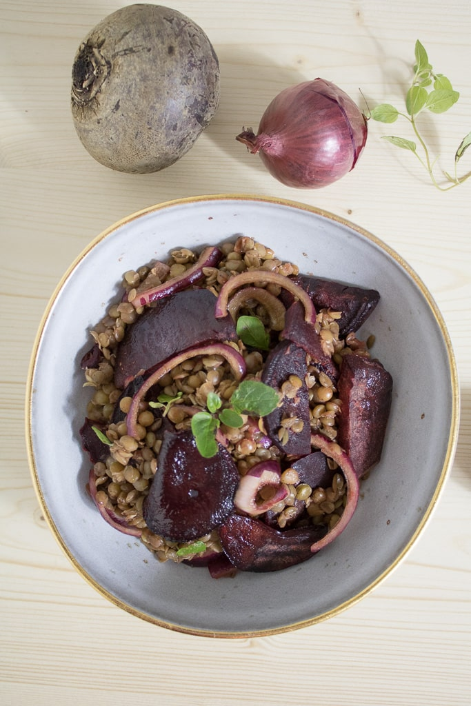 Lentil Salad with roasted Beetroot and see a raw beetroot