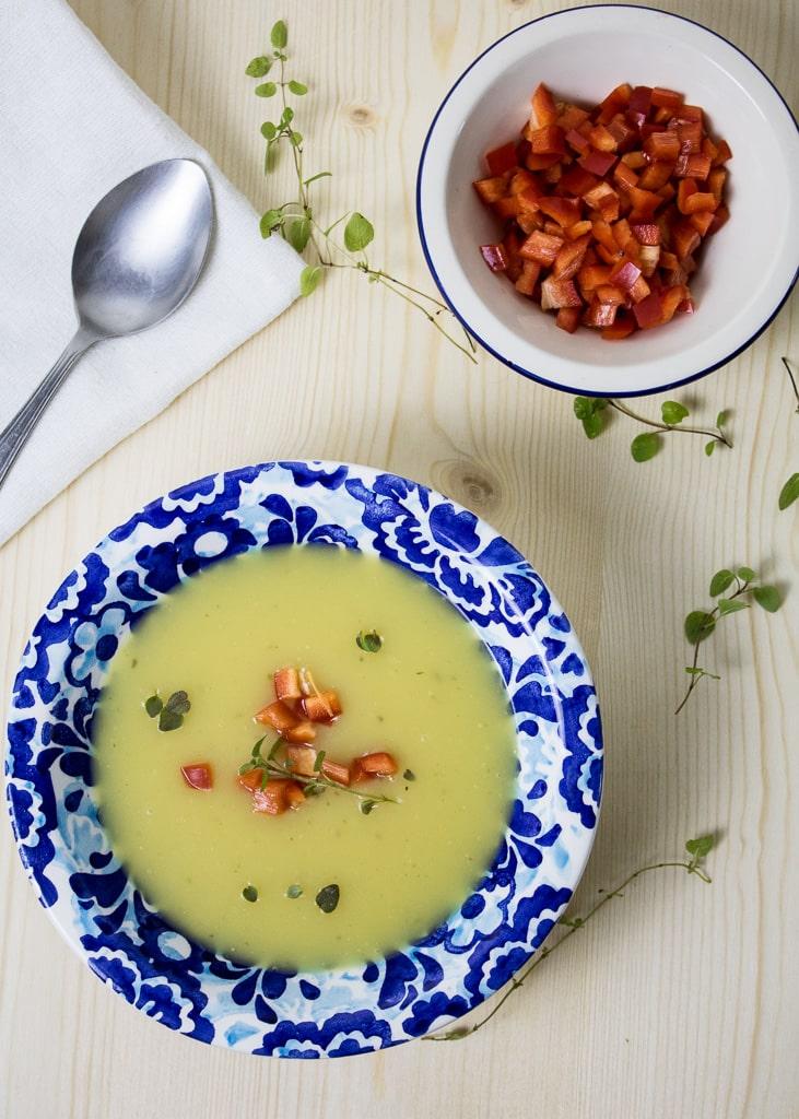 Kartoffel Creme Suppe mit Majoran