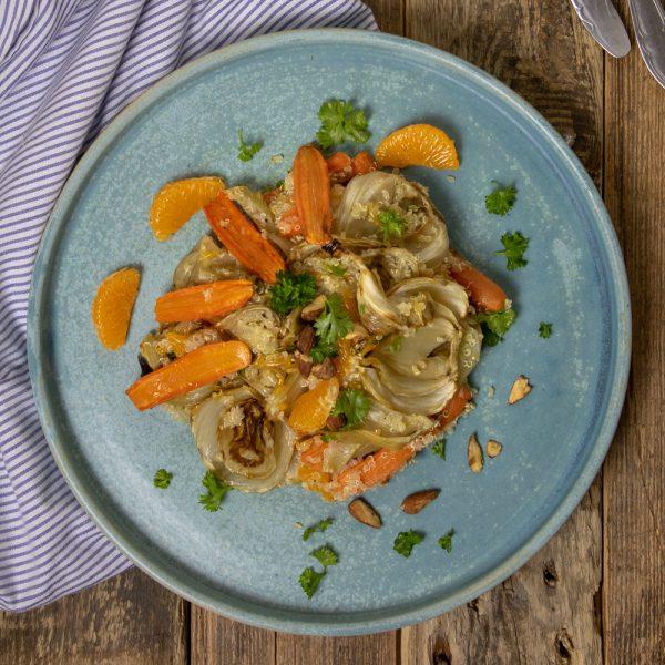 Fenchel Karotten Salat von oben